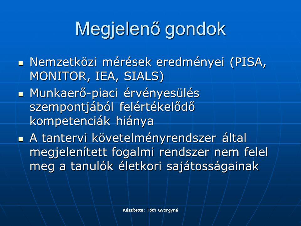 Készítette: Tóth Györgyné Megjelenő gondok Nemzetközi mérések eredményei (PISA, MONITOR, IEA, SIALS) Nemzetközi mérések eredményei (PISA, MONITOR, IEA, SIALS) Munkaerő-piaci érvényesülés szempontjából felértékelődő kompetenciák hiánya Munkaerő-piaci érvényesülés szempontjából felértékelődő kompetenciák hiánya A tantervi követelményrendszer által megjelenített fogalmi rendszer nem felel meg a tanulók életkori sajátosságainak A tantervi követelményrendszer által megjelenített fogalmi rendszer nem felel meg a tanulók életkori sajátosságainak