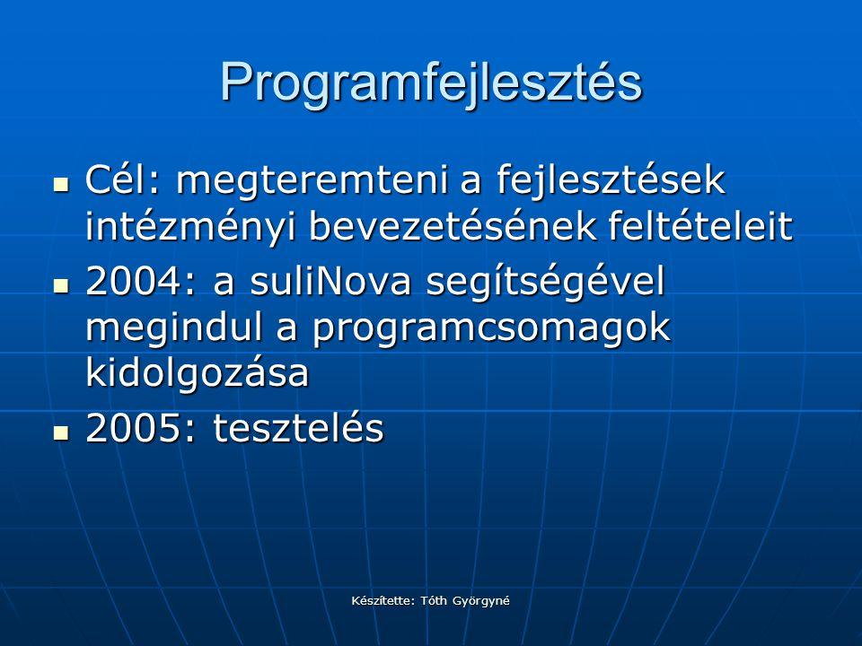 Készítette: Tóth Györgyné Programfejlesztés Cél: megteremteni a fejlesztések intézményi bevezetésének feltételeit Cél: megteremteni a fejlesztések intézményi bevezetésének feltételeit 2004: a suliNova segítségével megindul a programcsomagok kidolgozása 2004: a suliNova segítségével megindul a programcsomagok kidolgozása 2005: tesztelés 2005: tesztelés