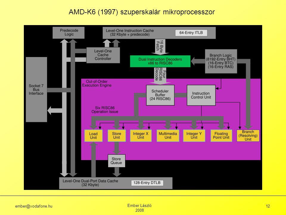 ember@vodafone.hu Ember László 2008 12 AMD-K6 (1997) szuperskalár mikroprocesszor