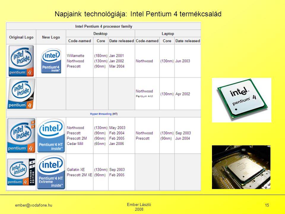 ember@vodafone.hu Ember László 2008 15 Napjaink technológiája: Intel Pentium 4 termékcsalád