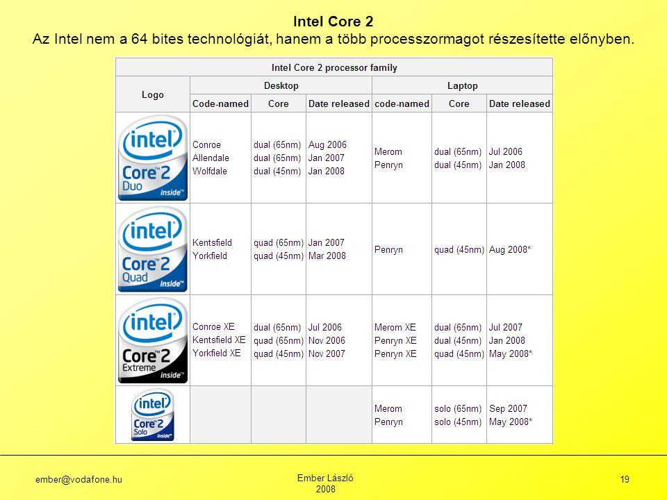 ember@vodafone.hu Ember László 2008 19 Intel Core 2 Az Intel nem a 64 bites technológiát, hanem a több processzormagot részesítette előnyben.