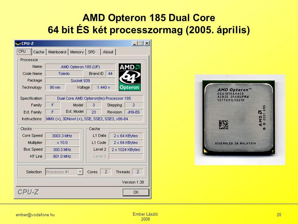 ember@vodafone.hu Ember László 2008 20 AMD Opteron 185 Dual Core 64 bit ÉS két processzormag (2005.