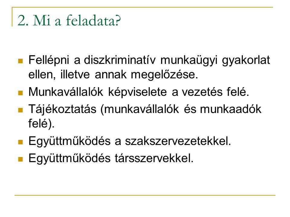 2.Mi a feladata. Fellépni a diszkriminatív munkaügyi gyakorlat ellen, illetve annak megelőzése.