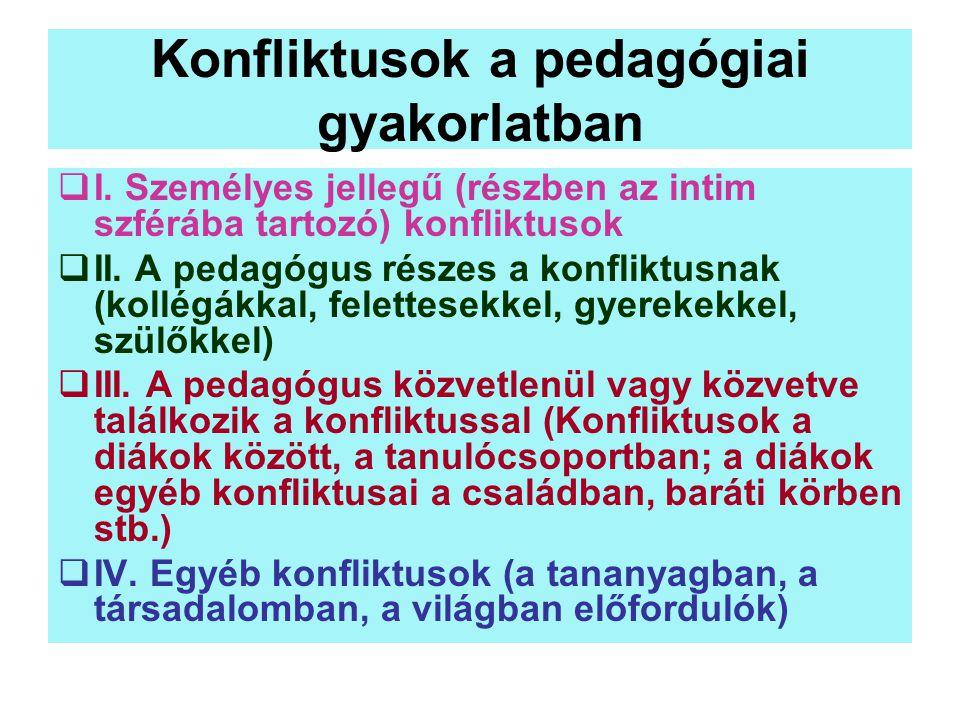 Konfliktusok a pedagógiai gyakorlatban  I. Személyes jellegű (részben az intim szférába tartozó) konfliktusok  II. A pedagógus részes a konfliktusna
