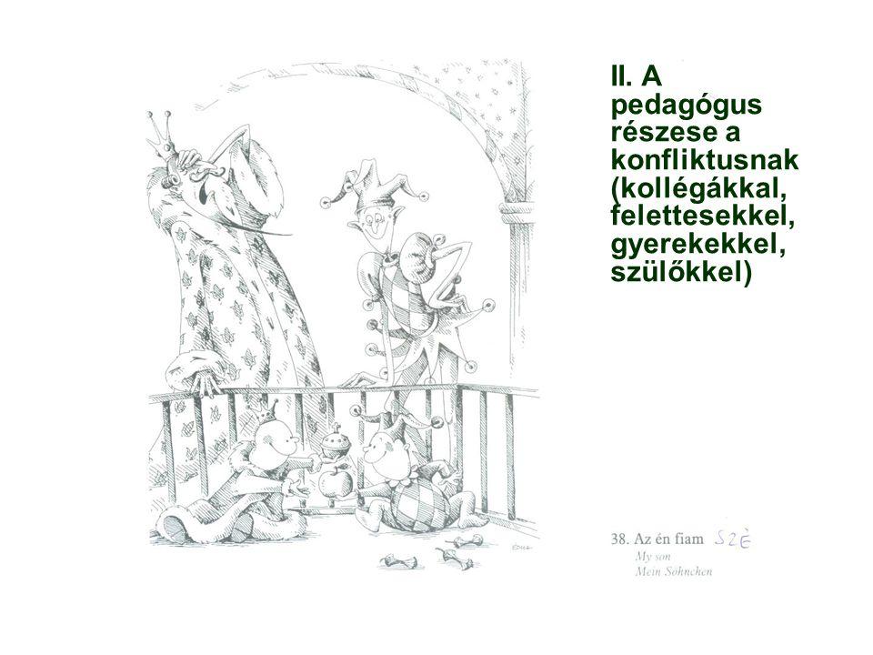 II. A pedagógus részese a konfliktusnak (kollégákkal, felettesekkel, gyerekekkel, szülőkkel)