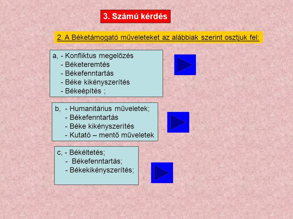 3. Számú kérdés 2. A Béketámogató műveleteket az alábbiak szerint osztjuk fel: a, - Konfliktus megelőzés - Béketeremtés - Békefenntartás - Béke kikény
