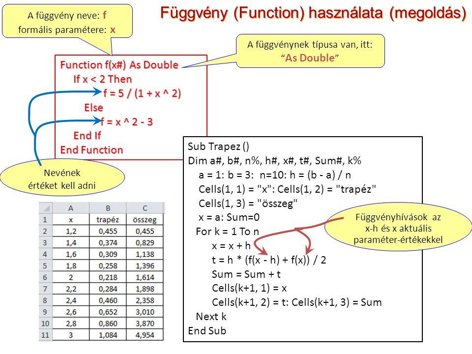 Függvény (Function) használata (megoldás) Function f(x#) As Double If x < 2 Then If x < 2 Then f = 5 / (1 + x ^ 2) f = 5 / (1 + x ^ 2) Else Else f = x ^ 2 - 3 f = x ^ 2 - 3 End If End If End Function A függvény neve: f formális paramétere: x A függvénynek típusa van, itt: As Double Nevének értéket kell adni Sub Trapez () Dim a#, b#, n%, h#, x#, t#, Sum#, k% a = 1: b = 3: n=10: h = (b - a) / n Cells(1, 1) = x : Cells(1, 2) = trapéz Cells(1, 3) = összeg x = a: Sum=0 For k = 1 To n x = x + h t = h * (f(x - h) + f(x)) / 2 Sum = Sum + t Cells(k+1, 1) = x Cells(k+1, 2) = t: Cells(k+1, 3) = Sum Next k End Sub Függvényhívások az x-h és x aktuális paraméter-értékekkel