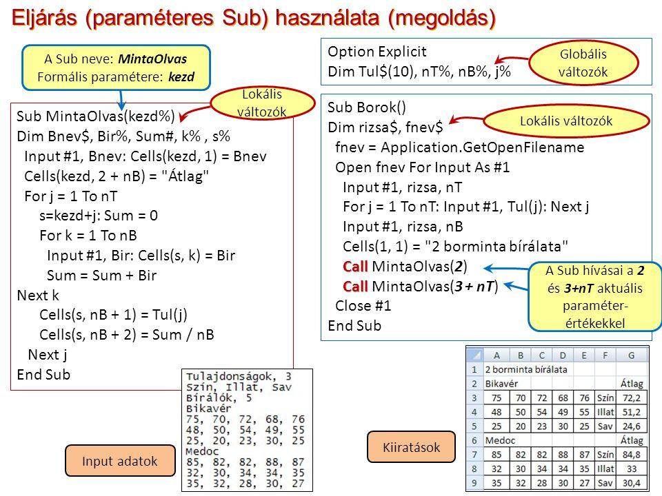 Eljárás (paraméteres Sub) használata (megoldás) Sub Borok() Dim rizsa$, fnev$ fnev = Application.GetOpenFilename Open fnev For Input As #1 Input #1, rizsa, nT For j = 1 To nT: Input #1, Tul(j): Next j Input #1, rizsa, nB Cells(1, 1) = 2 borminta bírálata Call Call MintaOlvas(2) Call Call MintaOlvas(3 + nT) Close #1 End Sub Option Explicit Dim Tul$(10), nT%, nB%, j% Sub MintaOlvas(kezd%) Dim Bnev$, Bir%, Sum#, k%, s% Input #1, Bnev: Cells(kezd, 1) = Bnev Cells(kezd, 2 + nB) = Átlag For j = 1 To nT s=kezd+j: Sum = 0 For k = 1 To nB Input #1, Bir: Cells(s, k) = Bir Sum = Sum + Bir Next k Cells(s, nB + 1) = Tul(j) Cells(s, nB + 2) = Sum / nB Next j End Sub Globális változók Lokális változók A Sub neve: MintaOlvas Formális paramétere: kezd Input adatok Kiiratások A Sub hívásai a 2 és 3+nT aktuális paraméter- értékekkel