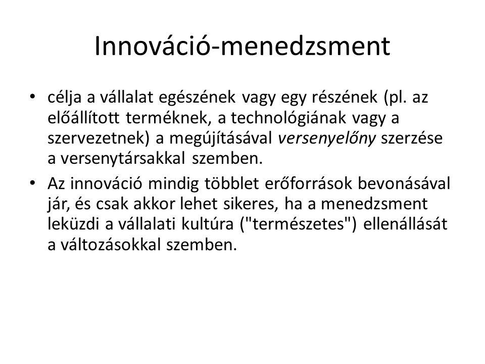 Innováció-menedzsment célja a vállalat egészének vagy egy részének (pl. az előállított terméknek, a technológiának vagy a szervezetnek) a megújításáva