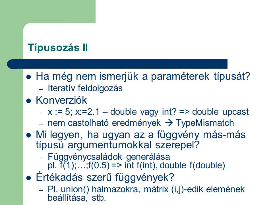 Típusozás II Ha még nem ismerjük a paraméterek típusát.