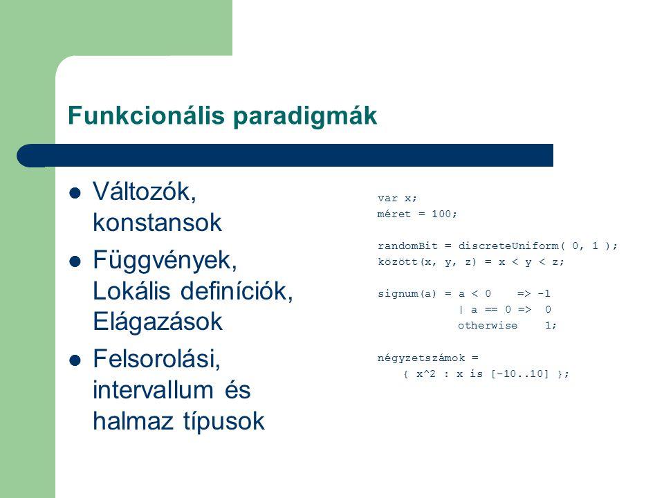 Funkcionális paradigmák Változók, konstansok Függvények, Lokális definíciók, Elágazások Felsorolási, intervallum és halmaz típusok var x; méret = 100; randomBit = discreteUniform( 0, 1 ); között(x, y, z) = x < y < z; signum(a) = a -1 | a == 0 => 0 otherwise 1; négyzetszámok = { x^2 : x is [-10..10] };