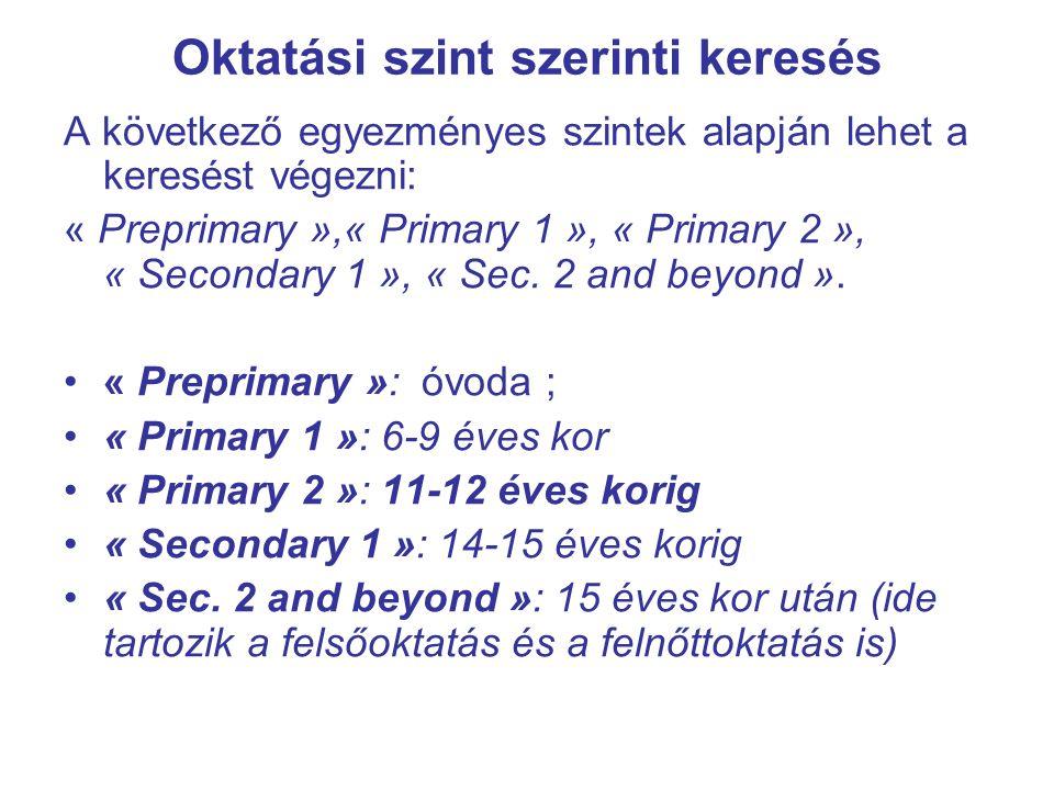 Oktatási szint szerinti keresés A következő egyezményes szintek alapján lehet a keresést végezni: « Preprimary »,« Primary 1 », « Primary 2 », « Secondary 1 », « Sec.