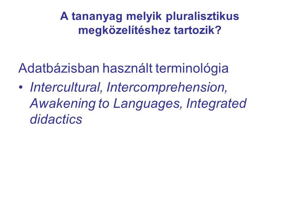 A tananyag melyik pluralisztikus megközelítéshez tartozik? Adatbázisban használt terminológia Intercultural, Intercomprehension, Awakening to Language
