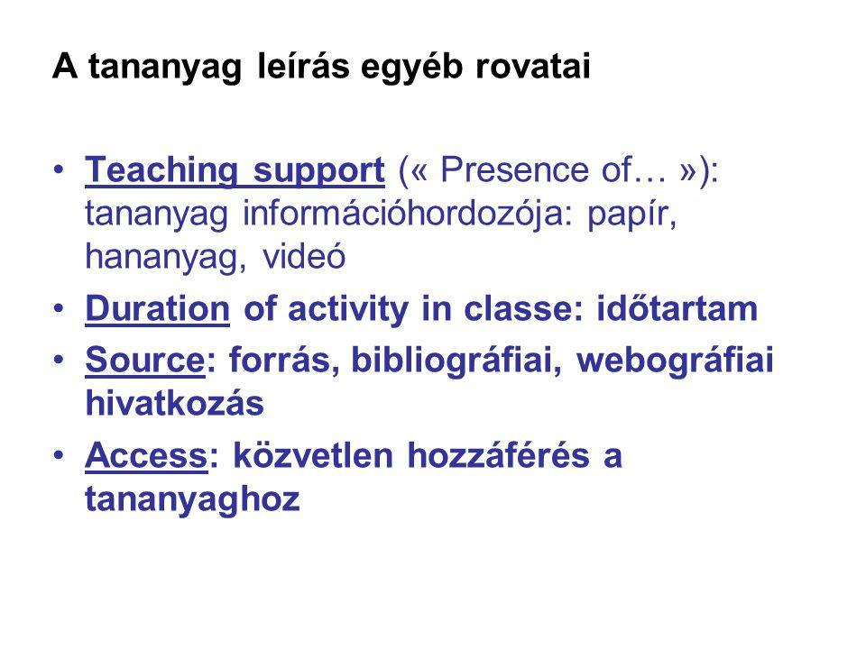 A tananyag leírás egyéb rovatai Teaching support (« Presence of… »): tananyag információhordozója: papír, hananyag, videó Duration of activity in clas