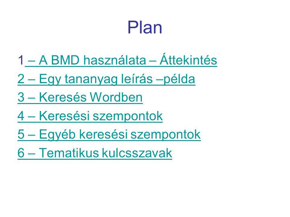 Plan 1 – A BMD használata – Áttekintés – A BMD használata – Áttekintés 2 – Egy tananyag leírás –példa 3 – Keresés Wordben 4 – Keresési szempontok 5 – Egyéb keresési szempontok 6 – Tematikus kulcsszavak