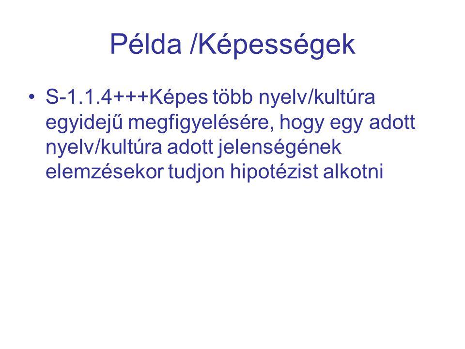Példa /Képességek S-1.1.4+++Képes több nyelv/kultúra egyidejű megfigyelésére, hogy egy adott nyelv/kultúra adott jelenségének elemzésekor tudjon hipot