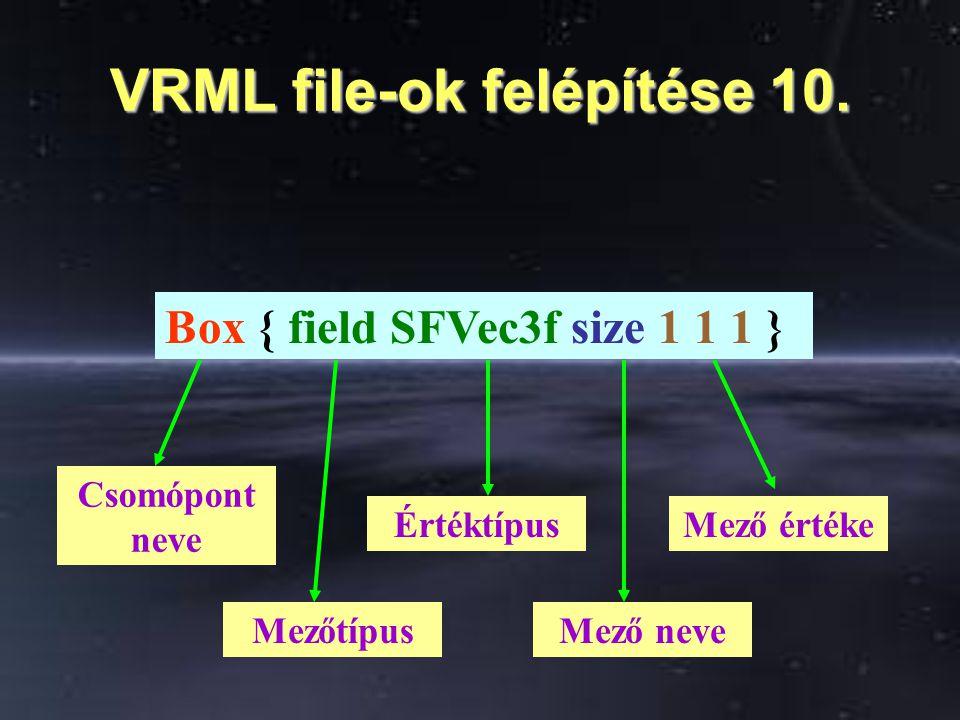 VRML file-ok felépítése 10. Box { field SFVec3f size 1 1 1 } Csomópont neve Mezőtípus ÉrtéktípusMező értéke Mező neve