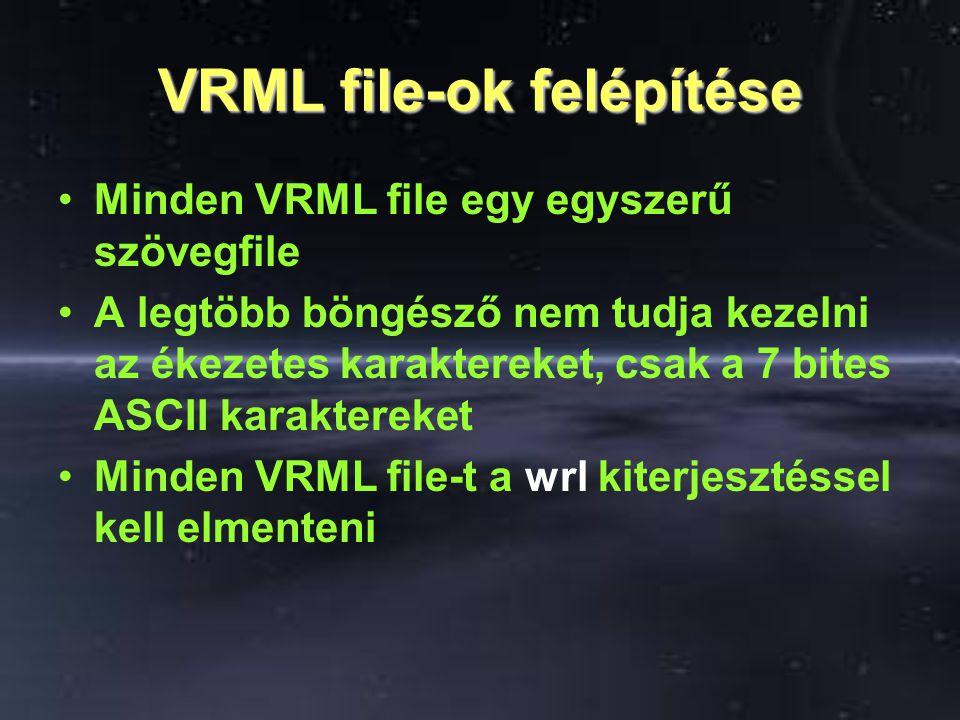 VRML file-ok felépítése Minden VRML file egy egyszerű szövegfile A legtöbb böngésző nem tudja kezelni az ékezetes karaktereket, csak a 7 bites ASCII k