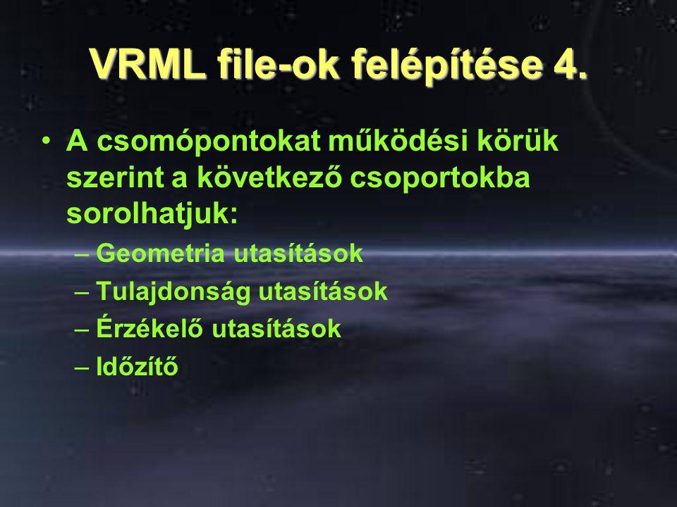 VRML file-ok felépítése 4. A csomópontokat működési körük szerint a következő csoportokba sorolhatjuk: –Geometria utasítások –Tulajdonság utasítások –