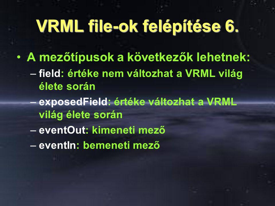 VRML file-ok felépítése 6. A mezőtípusok a következők lehetnek: –field: értéke nem változhat a VRML világ élete során –exposedField: értéke változhat