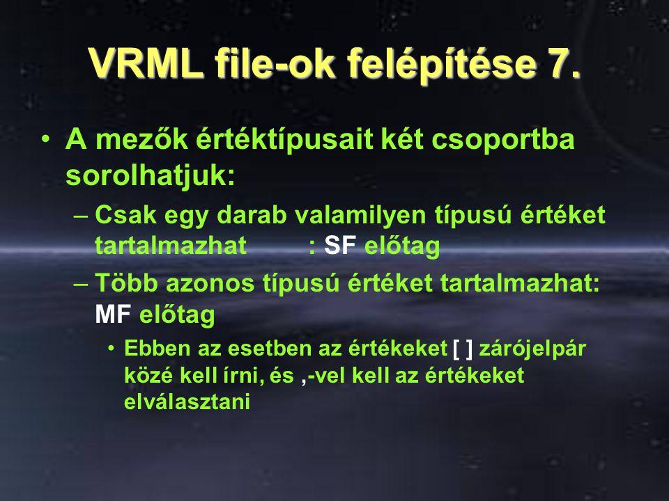 VRML file-ok felépítése 7. A mezők értéktípusait két csoportba sorolhatjuk: –Csak egy darab valamilyen típusú értéket tartalmazhat: SF előtag –Több az