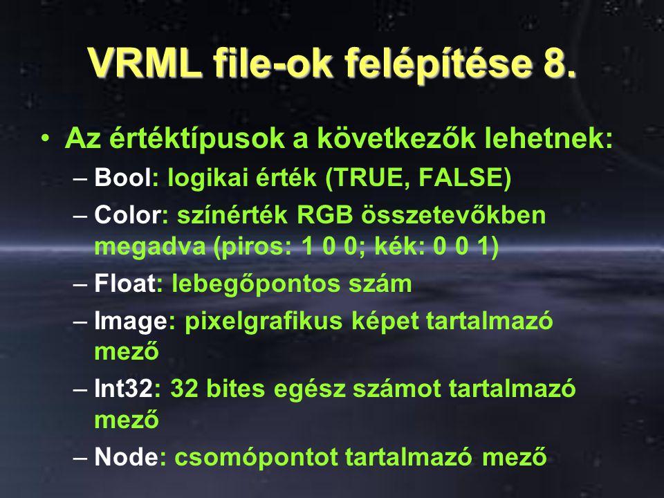 VRML file-ok felépítése 8. Az értéktípusok a következők lehetnek: –Bool: logikai érték (TRUE, FALSE) –Color: színérték RGB összetevőkben megadva (piro