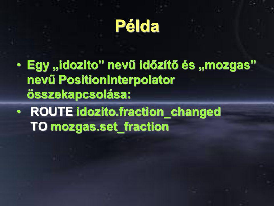 """Példa Egy """"idozito nevű időzítő és """"mozgas nevű PositionInterpolator összekapcsolása:Egy """"idozito nevű időzítő és """"mozgas nevű PositionInterpolator összekapcsolása: ROUTE idozito.fraction_changed TO mozgas.set_fraction ROUTE idozito.fraction_changed TO mozgas.set_fraction"""