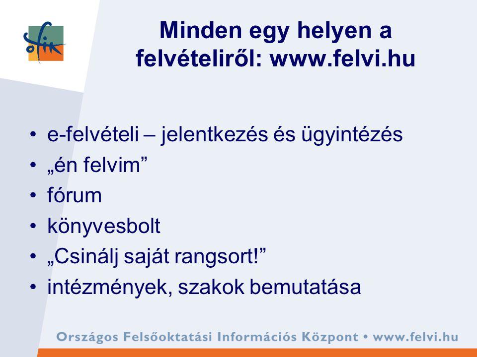 """Minden egy helyen a felvételiről: www.felvi.hu e-felvételi – jelentkezés és ügyintézés """"én felvim fórum könyvesbolt """"Csinálj saját rangsort! intézmények, szakok bemutatása"""