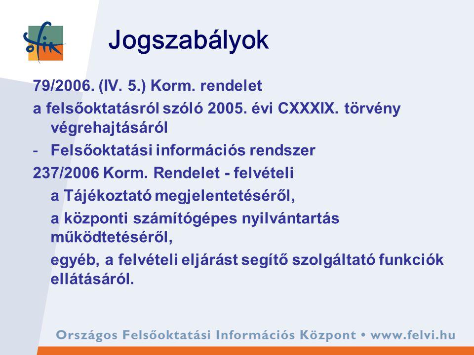 Jogszabályok 79/2006. (IV. 5.) Korm. rendelet a felsőoktatásról szóló 2005. évi CXXXIX. törvény végrehajtásáról -Felsőoktatási információs rendszer 23