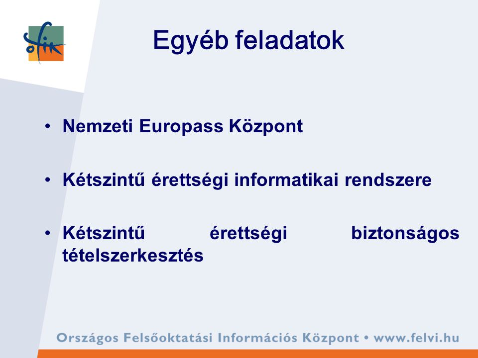 Egyéb feladatok Nemzeti Europass Központ Kétszintű érettségi informatikai rendszere Kétszintű érettségi biztonságos tételszerkesztés