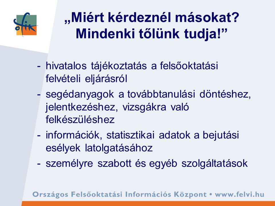 OFIK, mint szolgáltató iroda kiadványok e-felvételi információszolgálat rendezvények, előadások kutatások, elemzések statisztikai adatok pályaorientáció OFIK jogász www.felvi.hu
