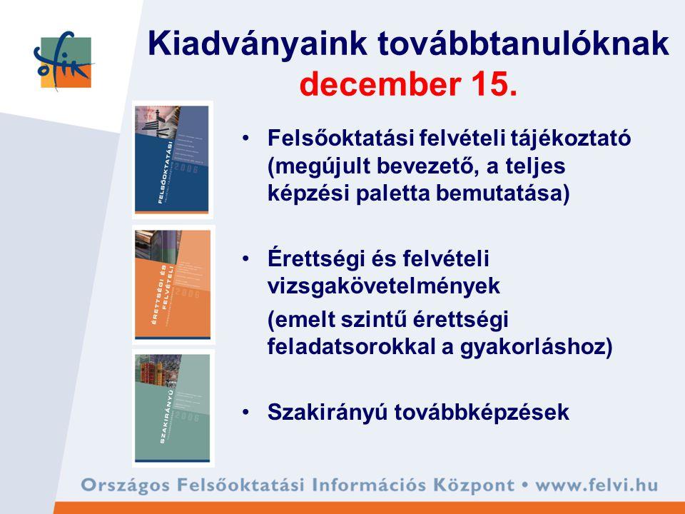 Kiadványaink továbbtanulóknak december 15. Felsőoktatási felvételi tájékoztató (megújult bevezető, a teljes képzési paletta bemutatása) Érettségi és f