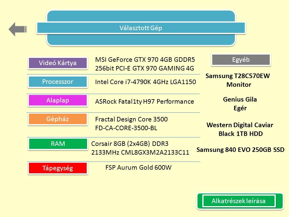 Választott Gép Videó Kártya Processzor Alaplap Gépház RAM Tápegység Egyéb Intel Core i7-4790K 4GHz LGA1150 MSI GeForce GTX 970 4GB GDDR5 256bit PCI-E GTX 970 GAMING 4G ASRock Fatal1ty H97 Performance Fractal Design Core 3500 FD-CA-CORE-3500-BL Corsair 8GB (2x4GB) DDR3 2133MHz CML8GX3M2A2133C11 FSP Aurum Gold 600W Samsung T28C570EW Monitor Genius Gila Egér Western Digital Caviar Black 1TB HDD Samsung 840 EVO 250GB SSD Alkatrészek leírása
