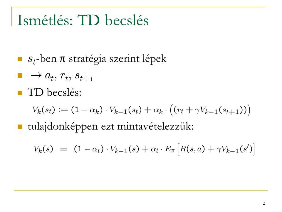 13 Q-learning összefoglaló a legelső RL-algoritmus nem túl jól működik, de rengeteg továbbfejlesztése létezik konvergál  de ez exponenciálisan lassú is lehet  inkább elméleti, mint gyakorlati jelentősége van fő problémák:  nem hatékony az exploráció  nem hatékony a TD-hibák visszaterjesztése  minden ( s, a ) pár értékét külön kell becsülni