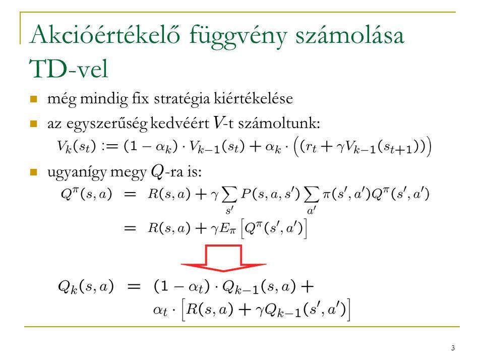 4 Optimális stratégia kiszámítása TD-vel ugyanúgy, mint az értékiterációnál vagy a Monte Carlonál modell nélkül akarjuk használni – muszáj Q -t számolni  Q szerint mohó akció s -ben:  V szerint mohó akció s -ben: kiindulási pont: Bellman-egyenlet Q * -ra