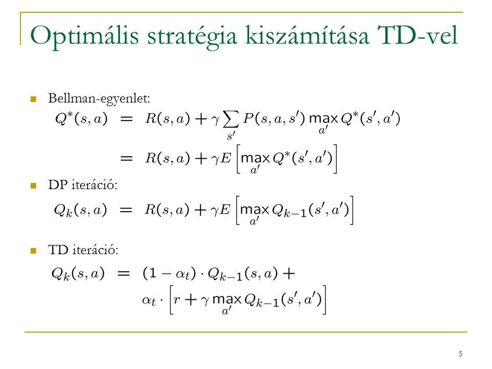 6 A kapott algoritmus: Q-learning Q ( s, a ) tetszőleges ciklus (epizódokra)  s:=s 0 ; t:=0  ciklus (lépésekre) t:=t+1 választunk a akciót vamilyen  stratégia alapján végrehajtjuk a -t megfigyeljük az r jutalmat és s ' következő állapotot s:=s '  ciklus vége ciklus vége