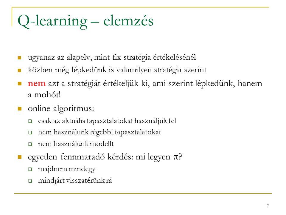 7 Q-learning – elemzés ugyanaz az alapelv, mint fix stratégia értékelésénél közben még lépkedünk is valamilyen stratégia szerint nem azt a stratégiát értékeljük ki, ami szerint lépkedünk, hanem a mohót.