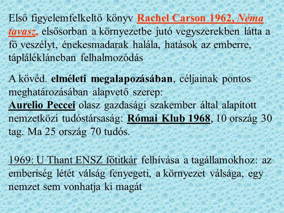 Első figyelemfelkeltő könyv Rachel Carson 1962, Néma tavasz, elsősorban a környezetbe jutó vegyszerekben látta a fő veszélyt, énekesmadarak halála, ha