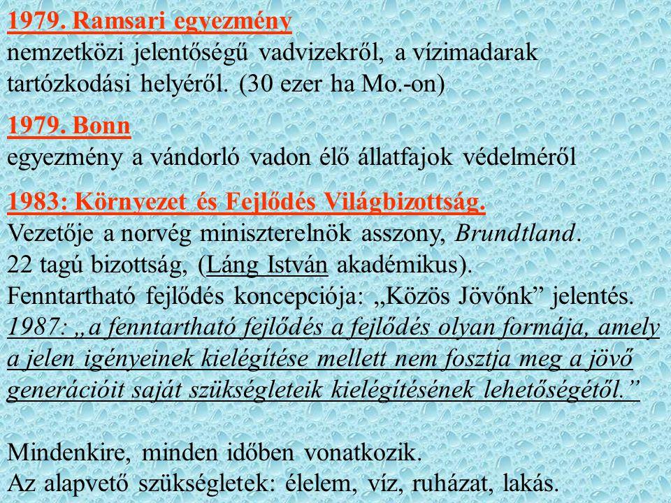 1979. Ramsari egyezmény nemzetközi jelentőségű vadvizekről, a vízimadarak tartózkodási helyéről. (30 ezer ha Mo.-on) 1979. Bonn egyezmény a vándorló v