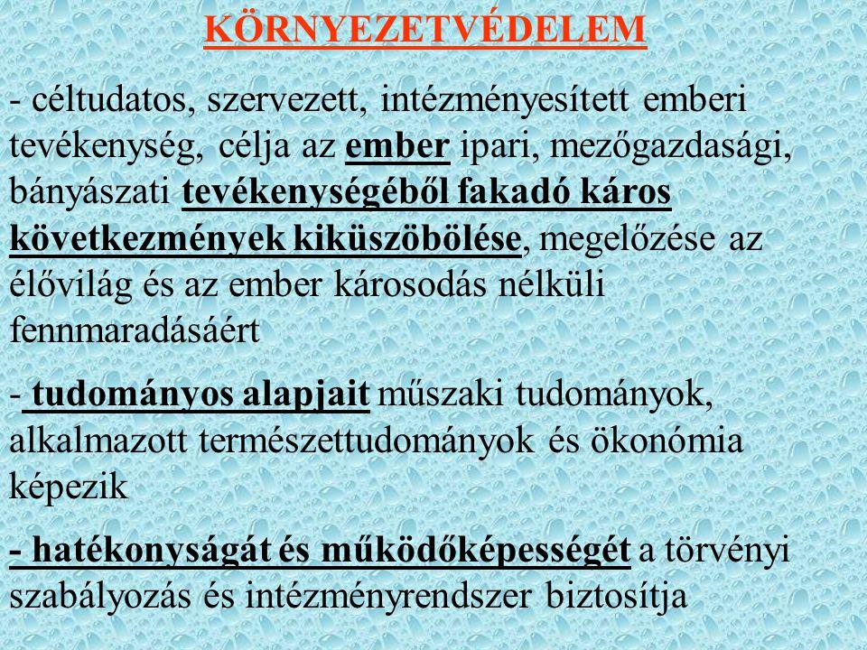 Más minisztériumok alá tartozik: - erdőfelügyelőségek, vadászat, talajvédelem, növényegészségügy, földhivatalok: FVM - ÁNTSZ, zajvédelem: EüM - bányakapitányságok, Magyar Állami Földtani Int.: GM