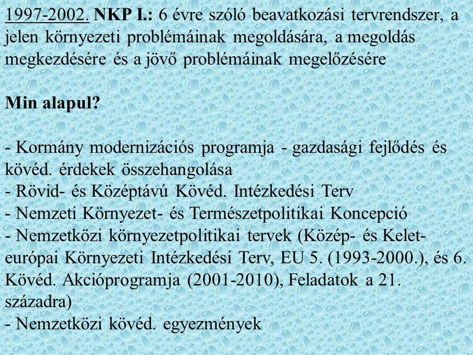 1997-2002. NKP I.: 6 évre szóló beavatkozási tervrendszer, a jelen környezeti problémáinak megoldására, a megoldás megkezdésére és a jövő problémáinak
