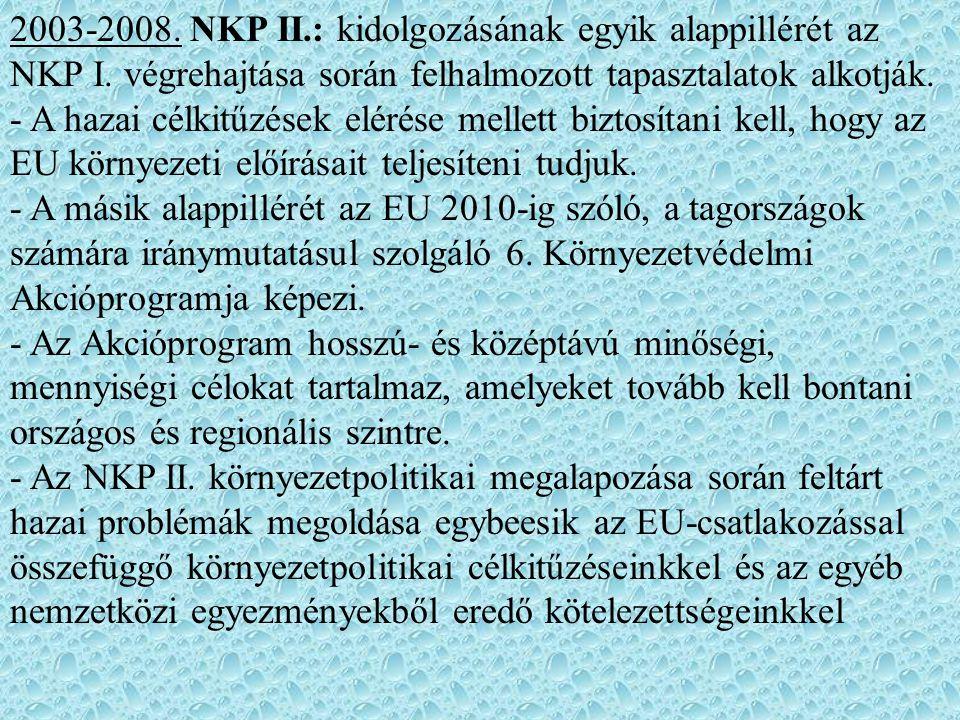 2003-2008. NKP II.: kidolgozásának egyik alappillérét az NKP I. végrehajtása során felhalmozott tapasztalatok alkotják. - A hazai célkitűzések elérése