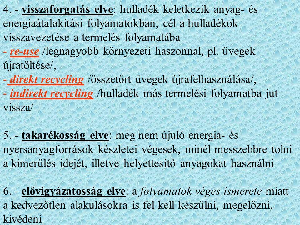 4. - visszaforgatás elve: hulladék keletkezik anyag- és energiaátalakítási folyamatokban; cél a hulladékok visszavezetése a termelés folyamatába - re-