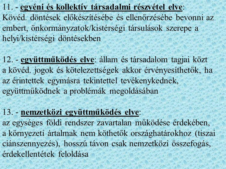 11. - egyéni és kollektív társadalmi részvétel elve: Kövéd. döntések előkészítésébe és ellenőrzésébe bevonni az embert, önkormányzatok/kistérségi társ