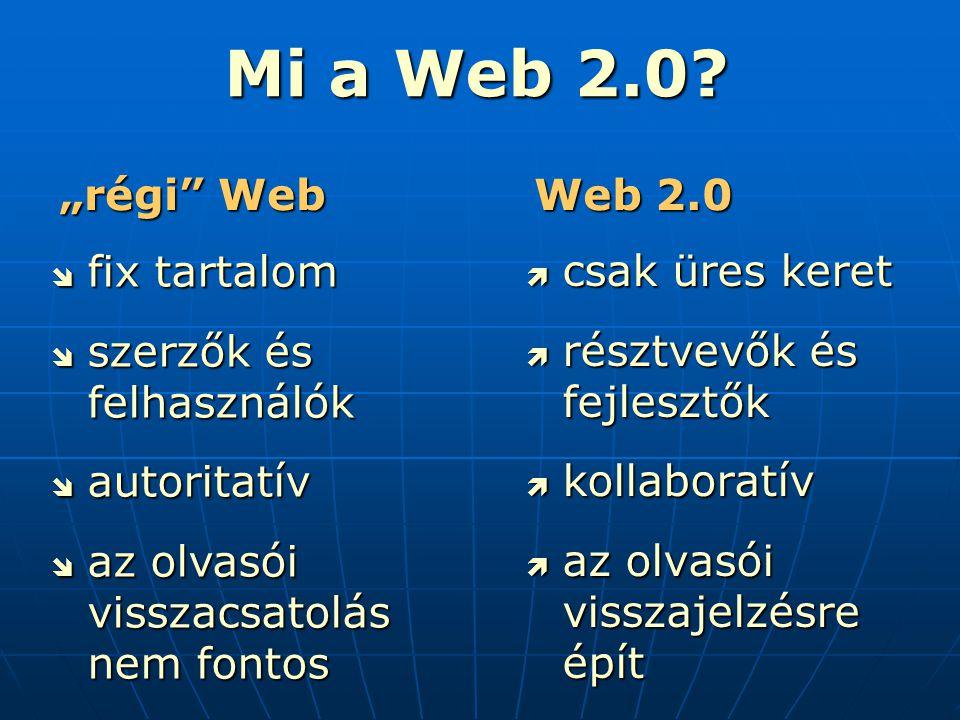  csak üres keret  résztvevők és fejlesztők  kollaboratív  az olvasói visszajelzésre épít Mi a Web 2.0.
