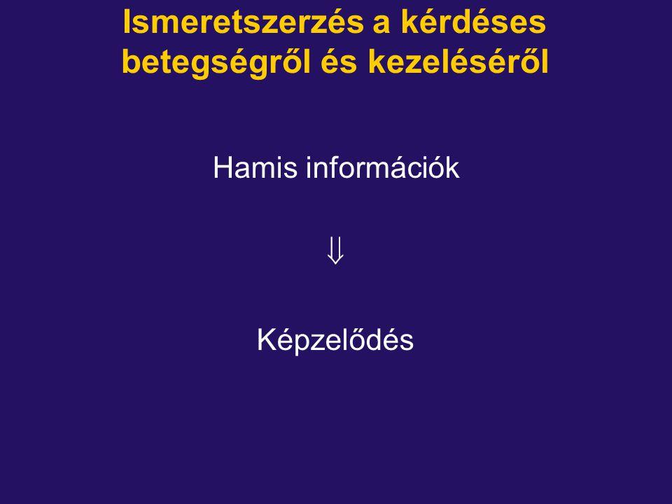 Ismeretszerzés a kérdéses betegségről és kezeléséről Hamis információk  Képzelődés