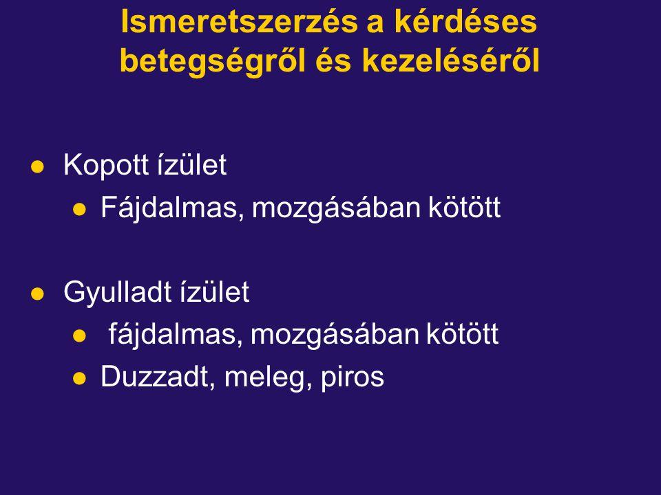Ismeretszerzés a kérdéses betegségről és kezeléséről l Kopott ízület l Fájdalmas, mozgásában kötött l Gyulladt ízület l fájdalmas, mozgásában kötött l