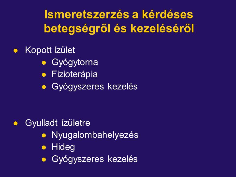 Ismeretszerzés a kérdéses betegségről és kezeléséről l Kopott ízület l Gyógytorna l Fizioterápia l Gyógyszeres kezelés l Gyulladt ízületre l Nyugalombahelyezés l Hideg l Gyógyszeres kezelés