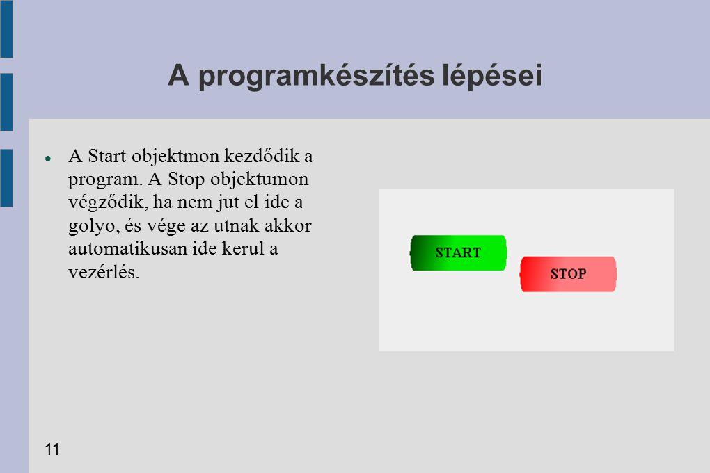 A programkészítés lépései A Start objektmon kezdődik a program. A Stop objektumon végződik, ha nem jut el ide a golyo, és vége az utnak akkor automati