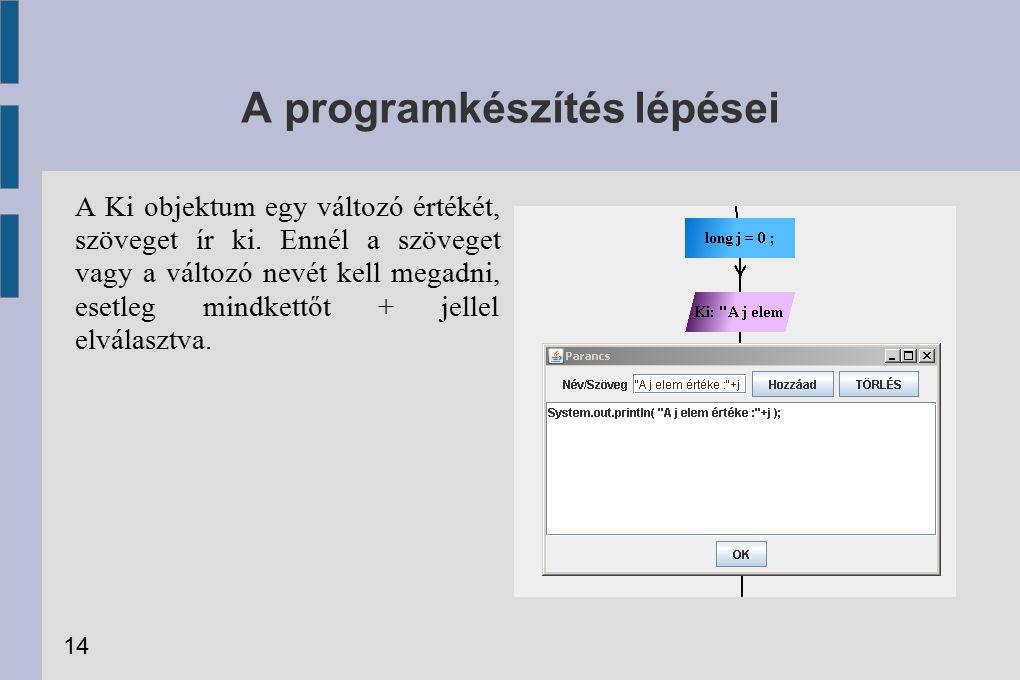 A programkészítés lépései A Ki objektum egy változó értékét, szöveget ír ki. Ennél a szöveget vagy a változó nevét kell megadni, esetleg mindkettőt +